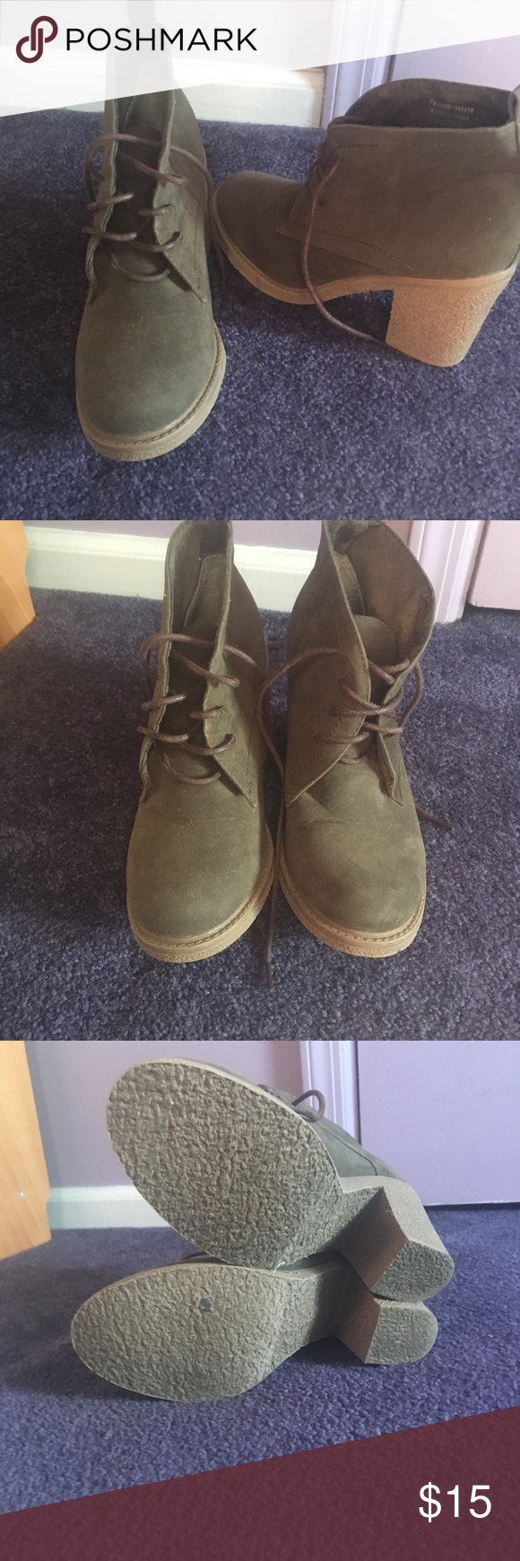47f021b1b46 Army green booties size 8 Army green lace up booties NWOT Atmosphere ...