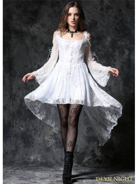3d337db9194 White Off-the-Shoulder Long Sleeves High-Low Lace Gothic Dress -  Devilnight.co.uk