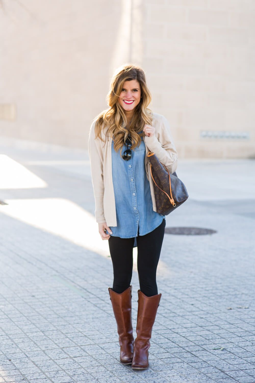 5d64fe2261 Oversized Chambray with Leggings and Brown Riding Boots