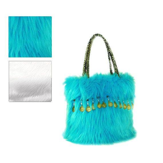 Small Aqua Brown Beaded Faux Fur handbag          by FauxFurFrenzy, $85.00