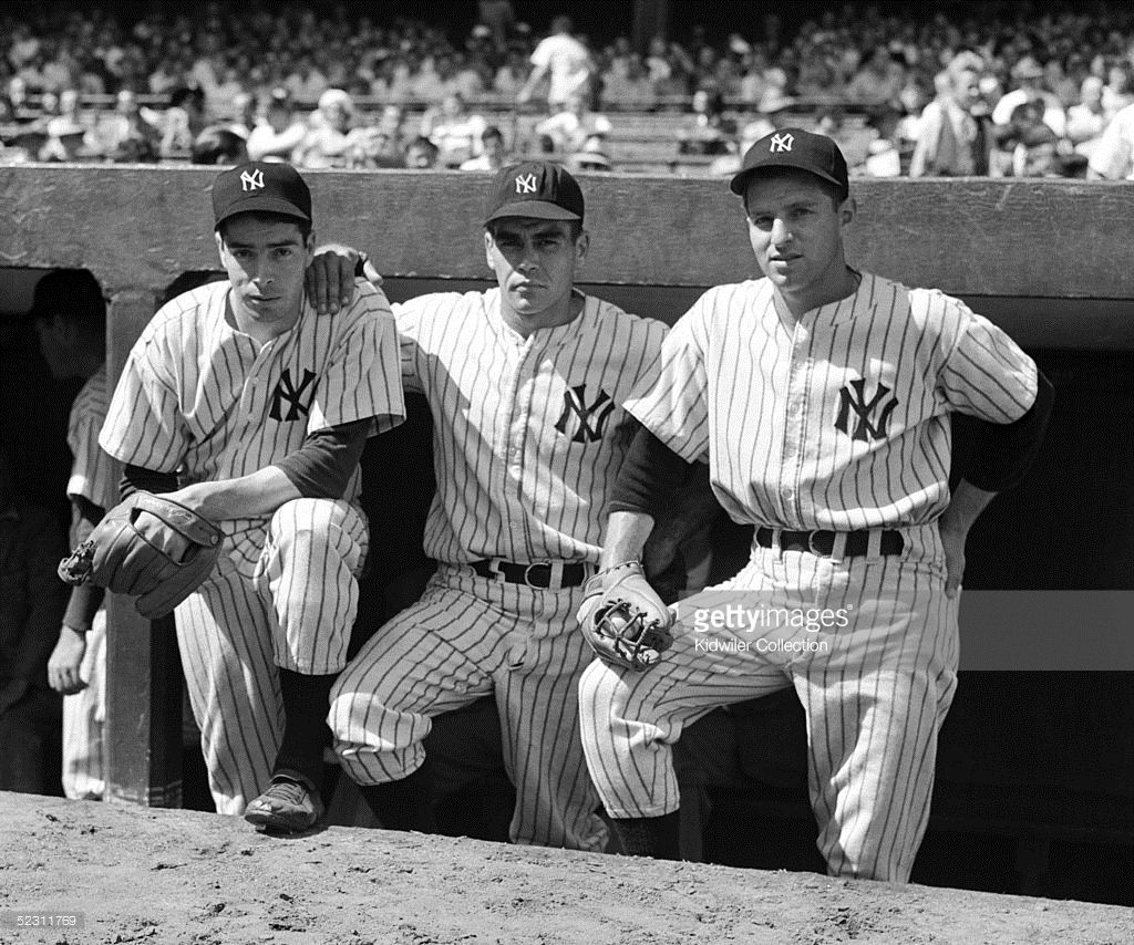 Joe Dimaggio Charlie Keller Tommy Henrich Nyy Going Into The 1941 Ws A Team That Had Won The Pennant By New York Yankees Baseball American League Mlb Uniforms