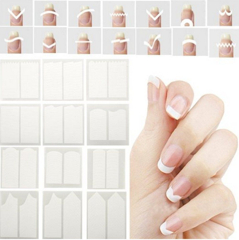 CINEEN 24 Pcs French Manicure Nail Stickers Nail Tips Smile Line ...