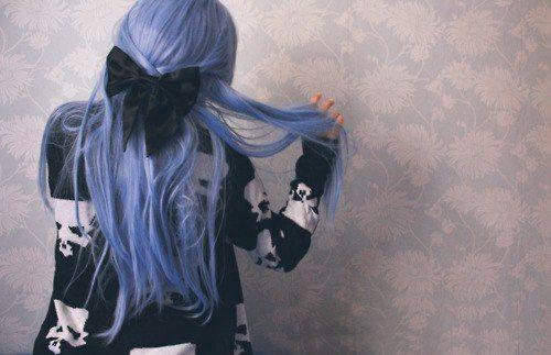 purple pastel hair-black bow