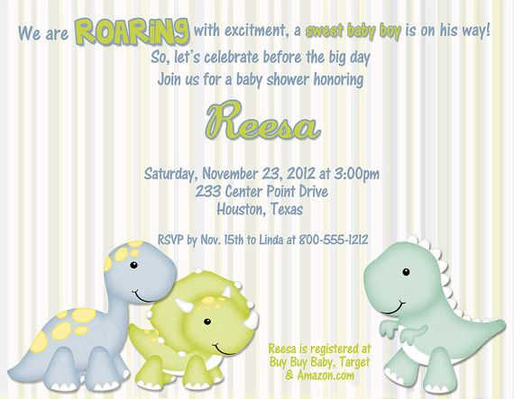 Dinosaur Baby Shower Invitations | Baby Dino Baby Shower Invitations Qty 10  By Debspartydesigns
