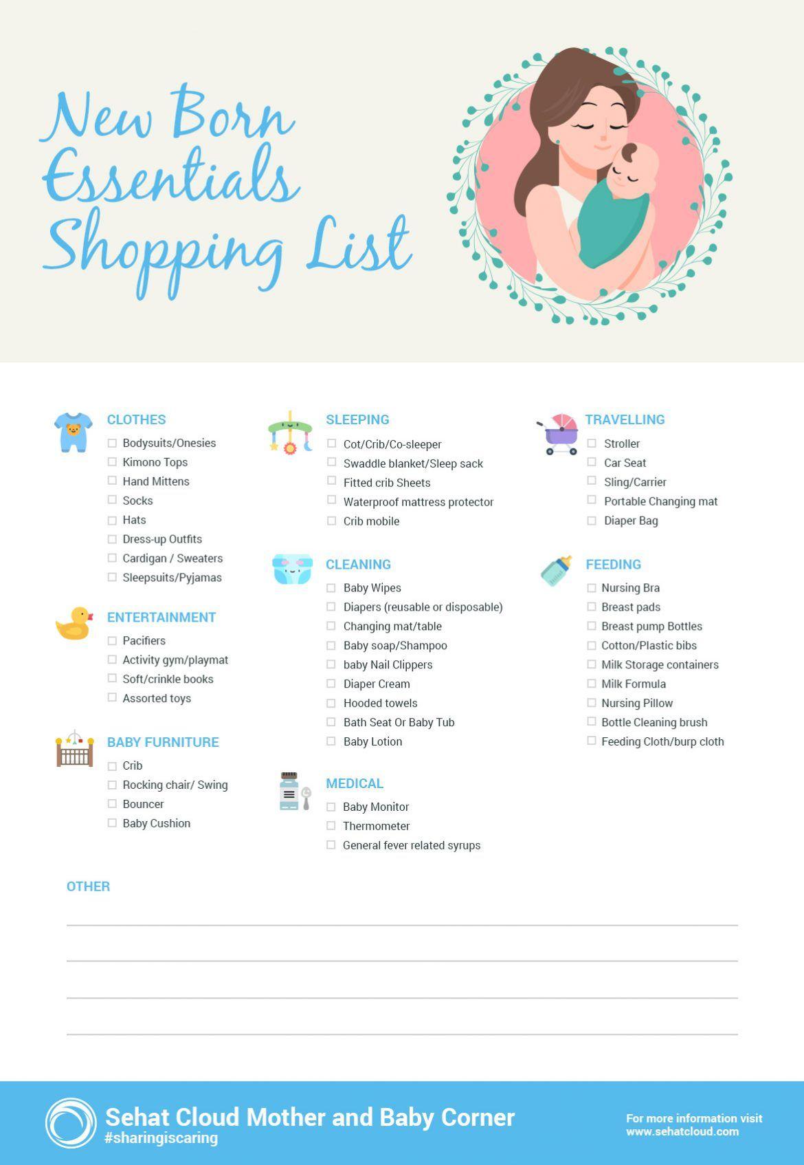 New Born Essentials Shopping List New Baby Checklist New Baby Products Baby Checklist Printable