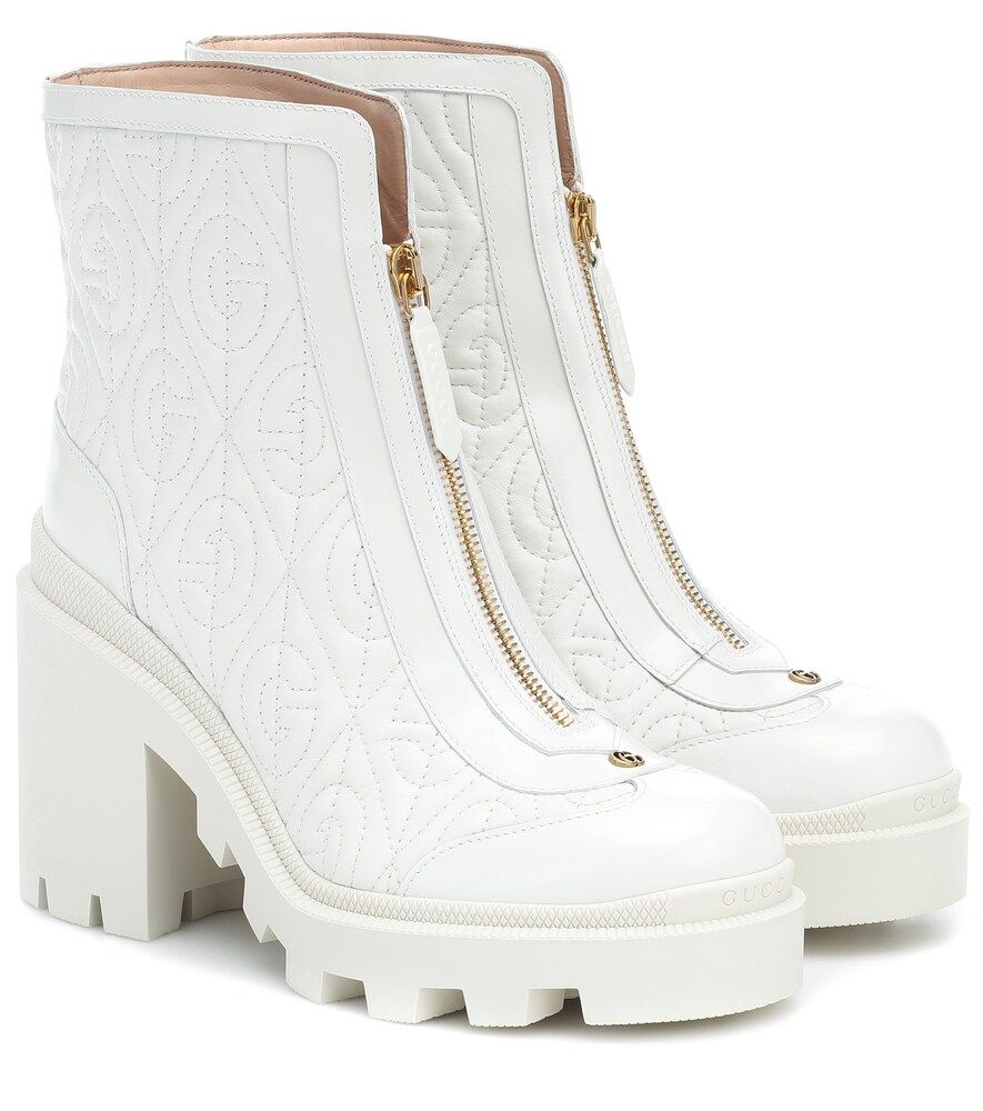 Gucci G Rhombus Leather Mid Heel Ankle Boot In White Modesens Trong 2020 Thời Trang Thời Trang Nữ Phụ Kiện
