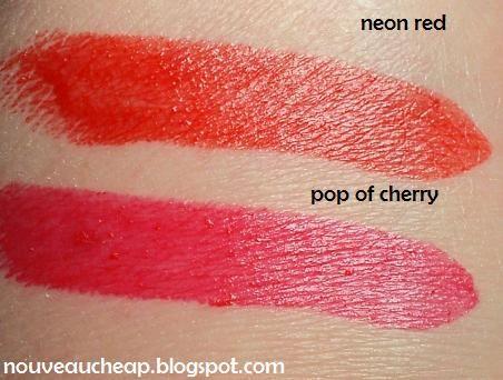 Maybelline ColorSensational Vivids Neon Red vs. Vivids Limited Edition Pop of Cherry