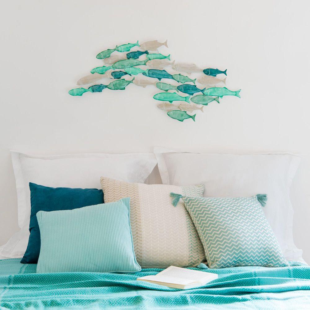 d co murale banc de poisson en m tal vert 81x38 collection cabane parement mural banc de. Black Bedroom Furniture Sets. Home Design Ideas