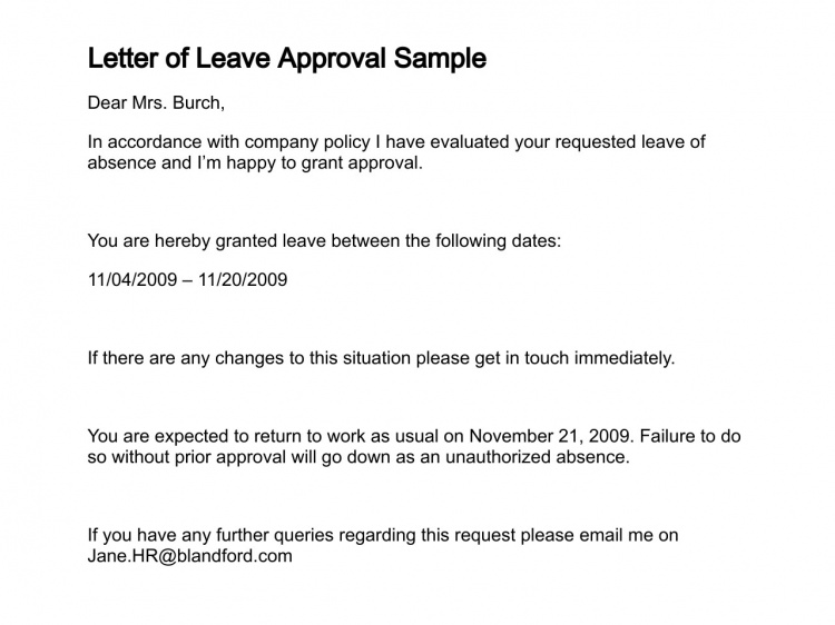 Letter of Leave Approval Sample Professional letter