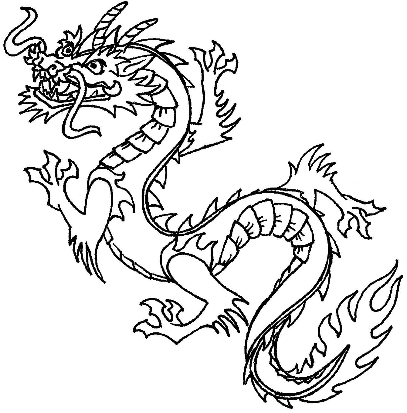 Adult Coloring Book Page With Beautiful Dragon On White Background ... | 1363x1341