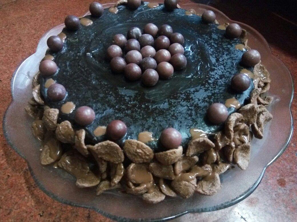 Chocolate cake with chocolate glaze icing and Choco's decorations  Totally chocolicious cake yummy