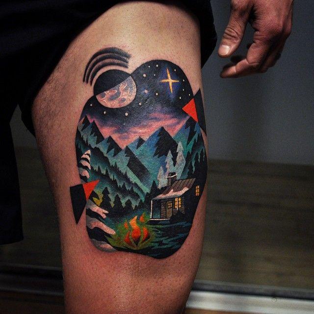 Landscape tattoo by David Cote