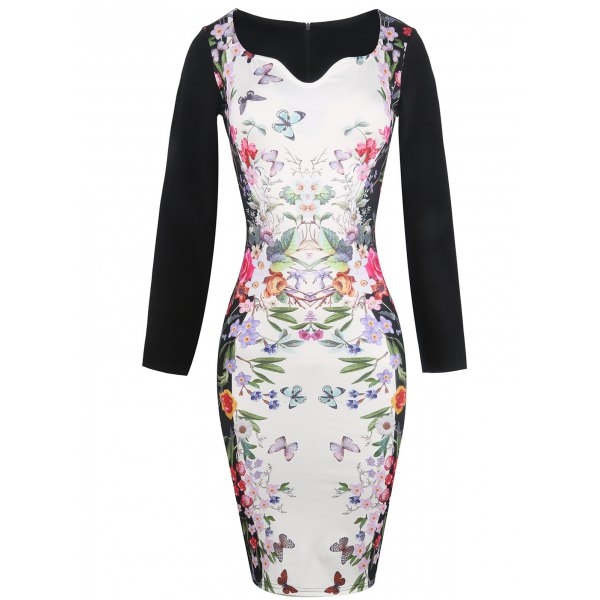 21.49$  Watch here - http://di10k.justgood.pw/go.php?t=205052703 - Long Sleeve Butterfly Painting Fitted Dress 21.49$