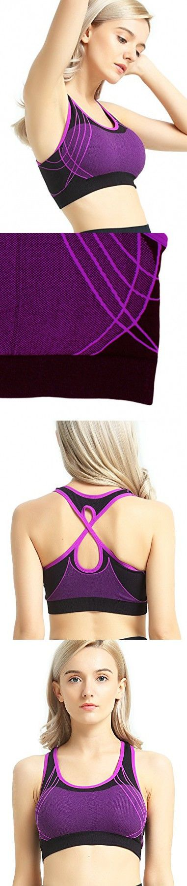 3a56167fa0782 Capricia O Dare Women s Sports Bras Seamless Racerback Wireless Padded For Workout  Yoga (Purple