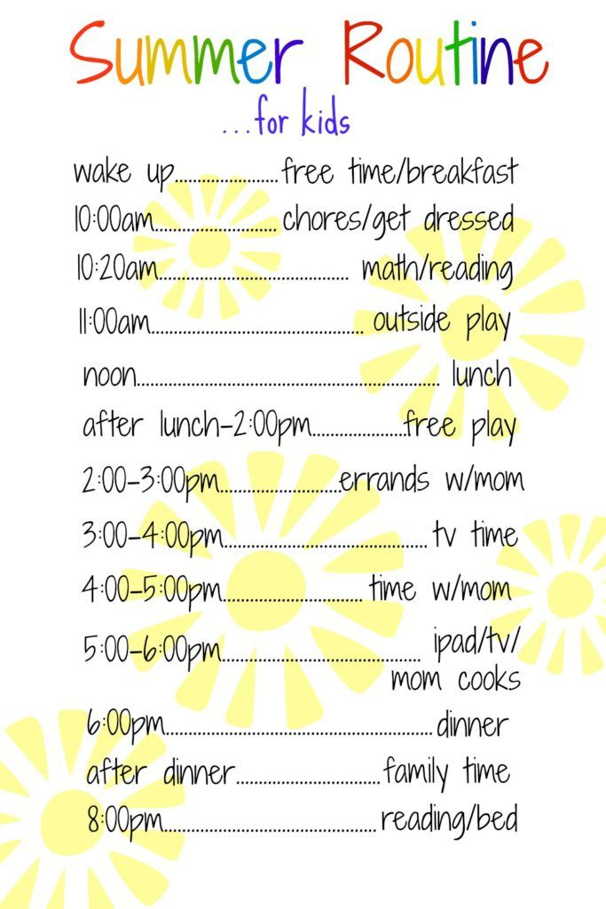 A Daily Routine for Kids Over the Summer Erase board, Routine and