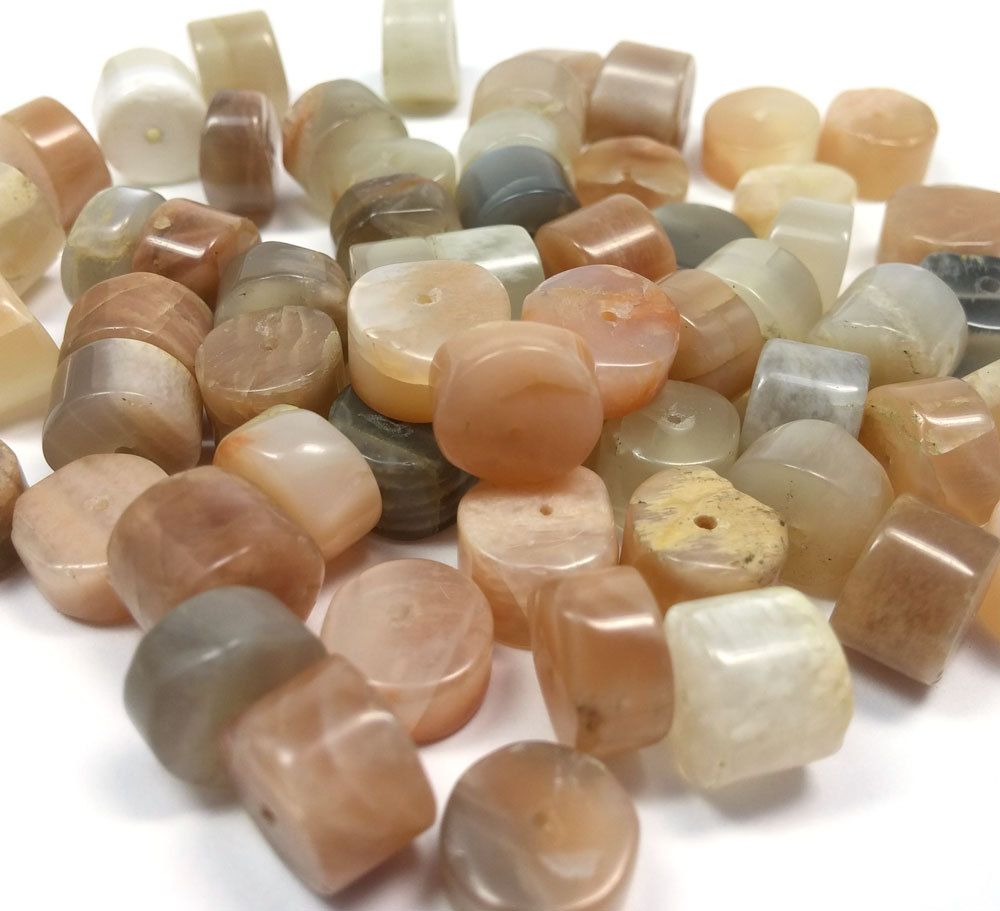 Moonstone Heishi Beads, 13.25 Inches, Neutral Shades, Peach, Grey, Brown, White, Cream, Gray, Hand Cut, (60 beads), LOT 799 by ItsAJewelryThing on Etsy