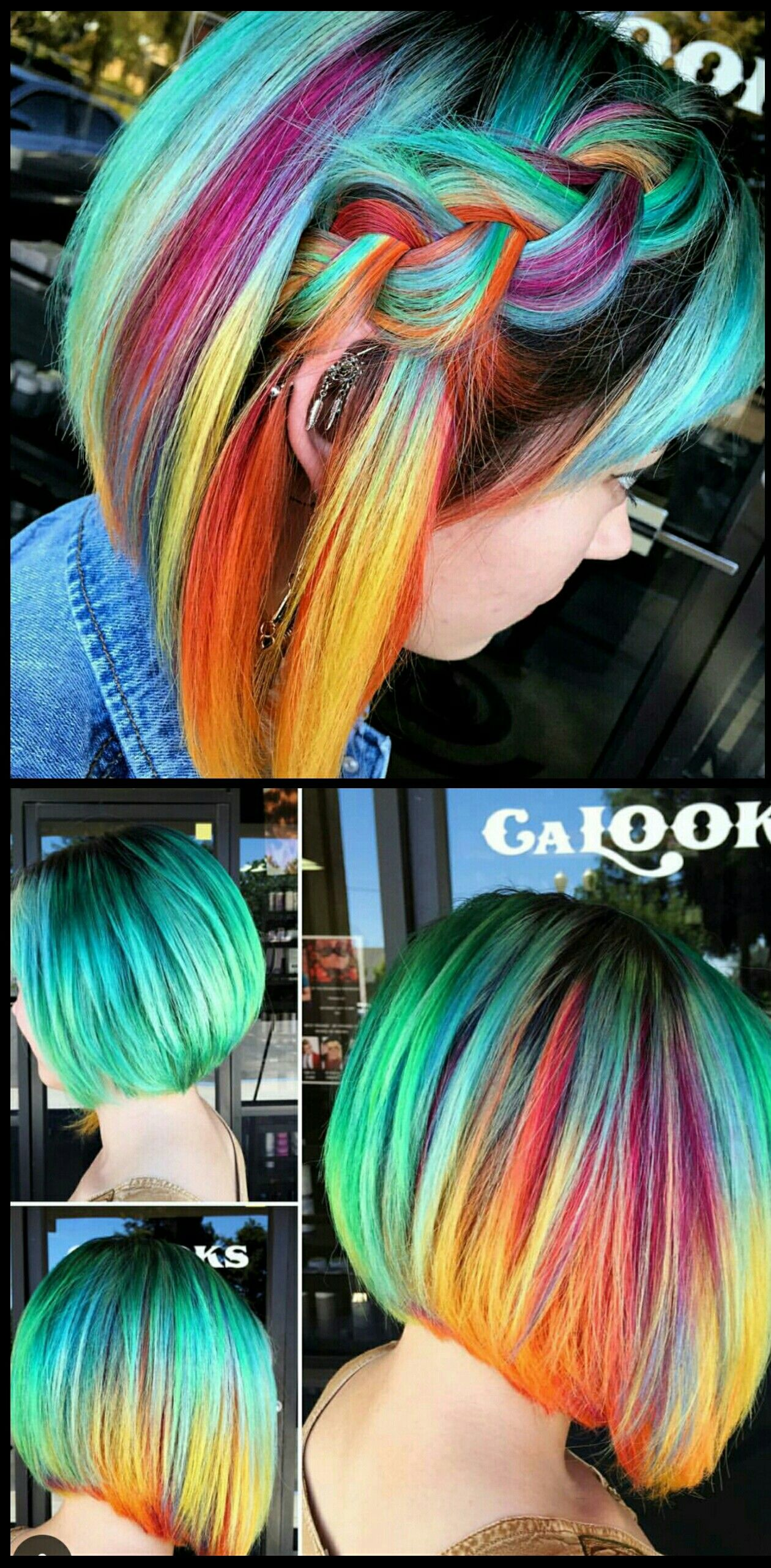 Turquoise green rainbow dyed hair color inspiration @sydniiee