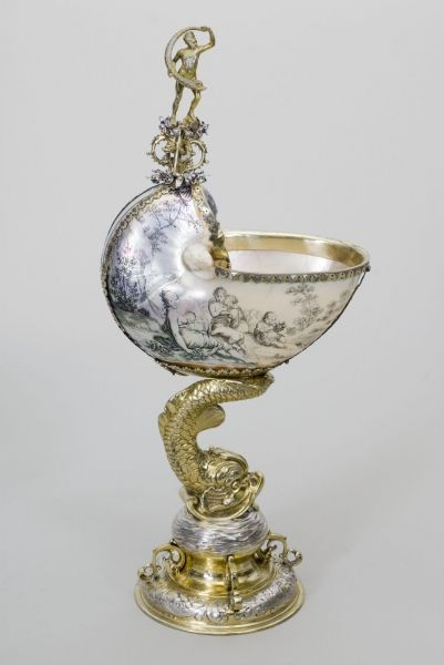 Nautilus Cup mid 17th c. - nautilus shell, silver gilt - Wadsworth Athaneum