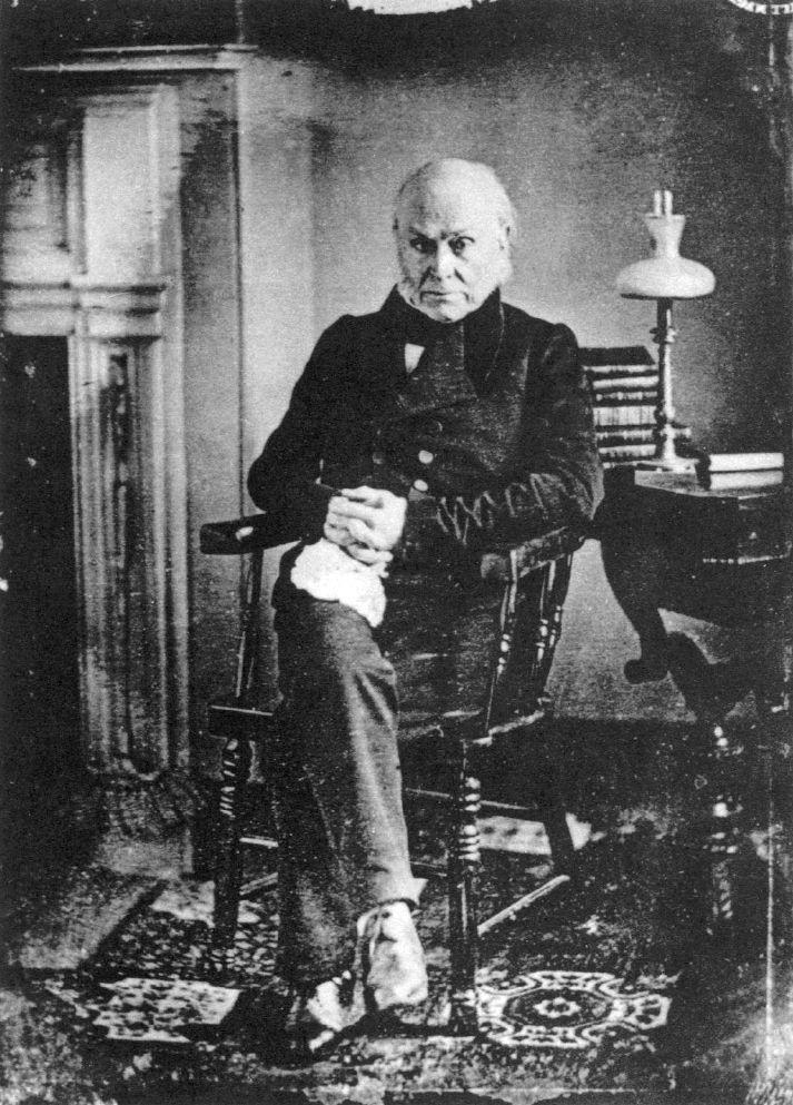 John Quincy Adams, 1843. Earliest known photograph of a U.S. president.