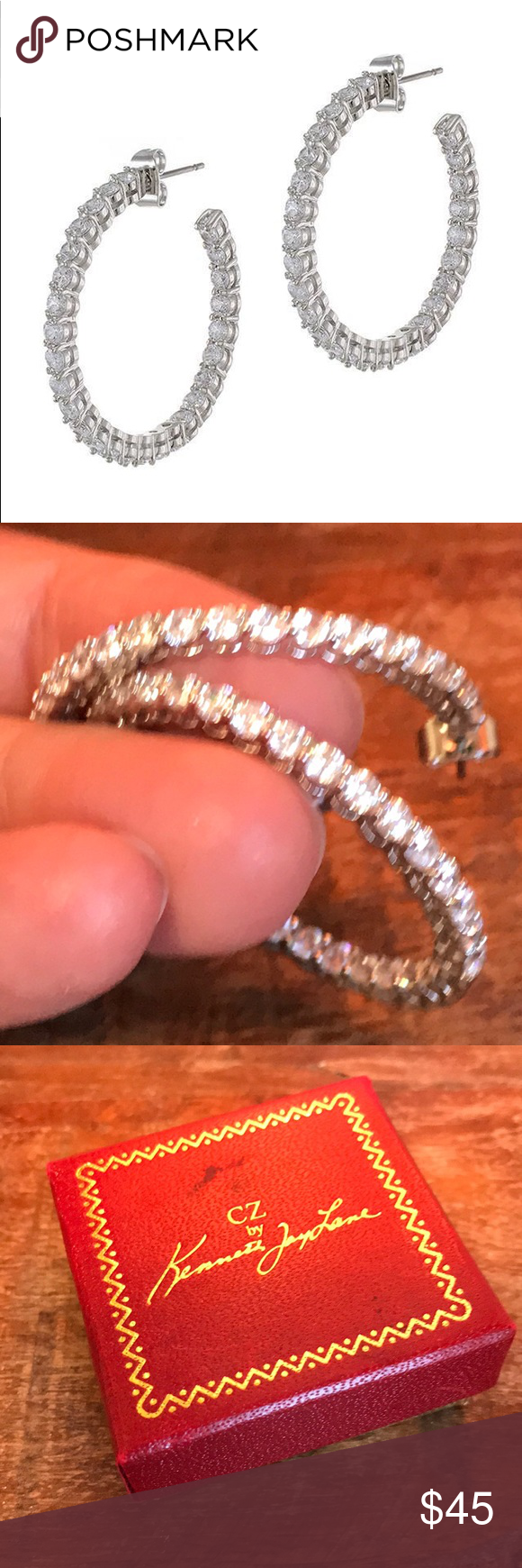 26406add376fc NEW Kenneth Jay Lane CZ Inside-out Hoop Earrings Kenneth Jay Lane CZ ...