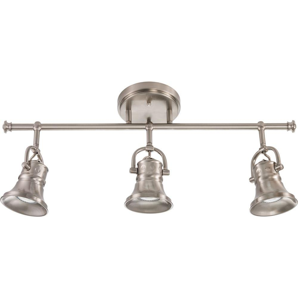 Lithonia Lighting Flared Skirt 3 Light Brushed Nickel Track Fixture With Led Bulbs