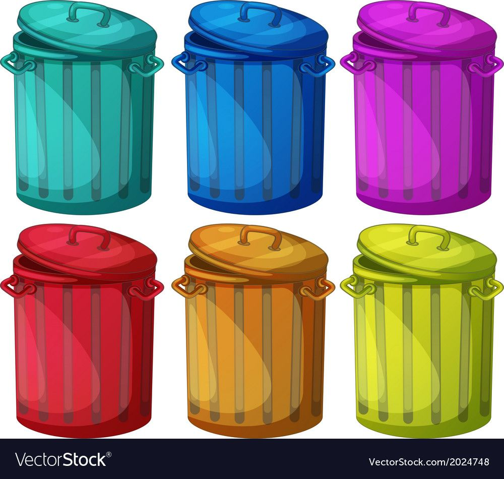 The Six Colorful Bins On A White Background Download A Free Preview Or High Quality Adobe Illustrator Ai Eps Pdf And High Resolution Jpe Color Bins Clip Art