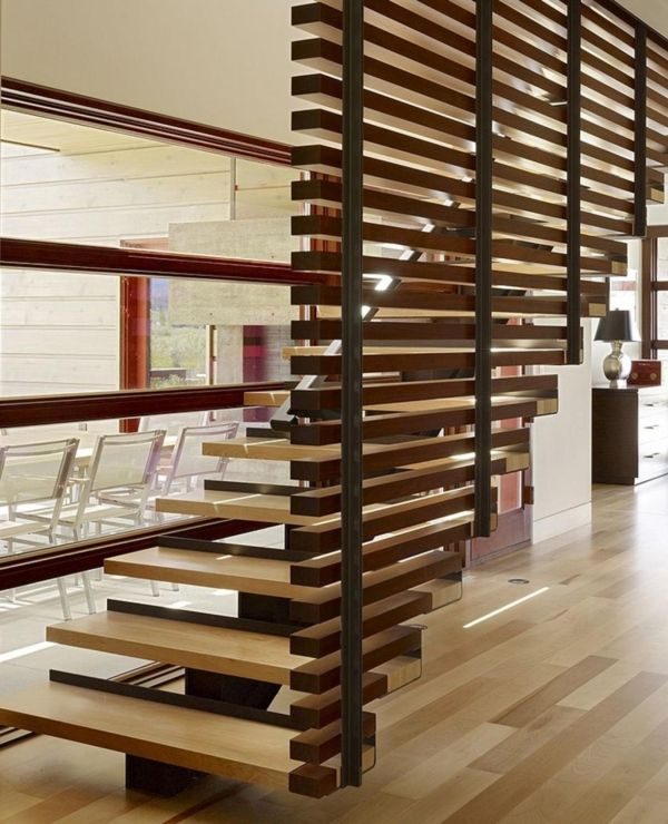 Design moderne escalier int rieur rampes et garde corps for Amenager un escalier interieur