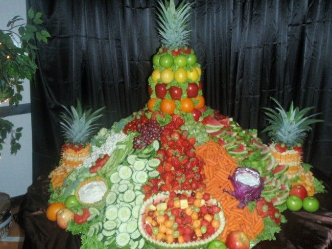 Waterfall Fruit And Veggie Displays: Cheese Fruit And Vegetable