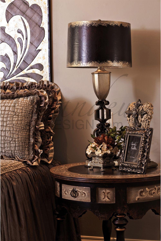 Old World bedside table rich design