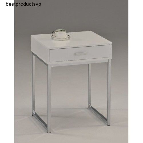 Nightstand Modern Drawer Bedroom Wood White Chrome Side Table One