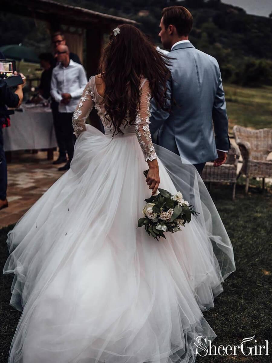Ver a través de vestidos de novia boho de manga larga vestido de novia con apliques de encaje AWD1327  – Boda