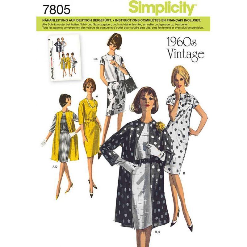 Simplicity 7805 Kleid + Mantel Vintage Gr. H5 6-14 (32-40) | Mäntel ...