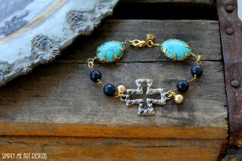 Gemstone Turquoise Cross and Vintage Pearl One of a by simplymeart, $42.00