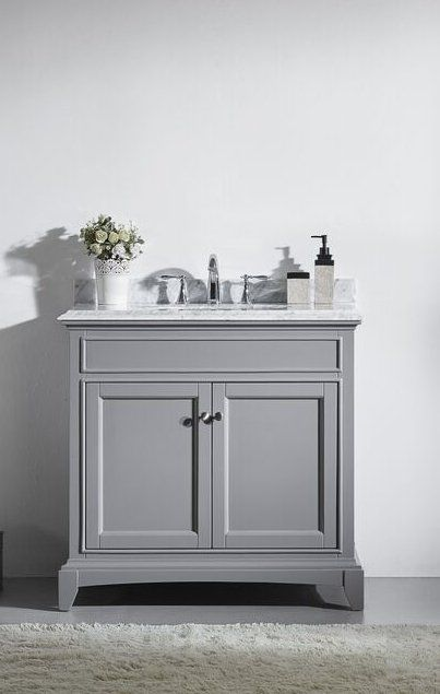 36 Inch Gray Bathroom Vanity Set With White Carrera Marble Top