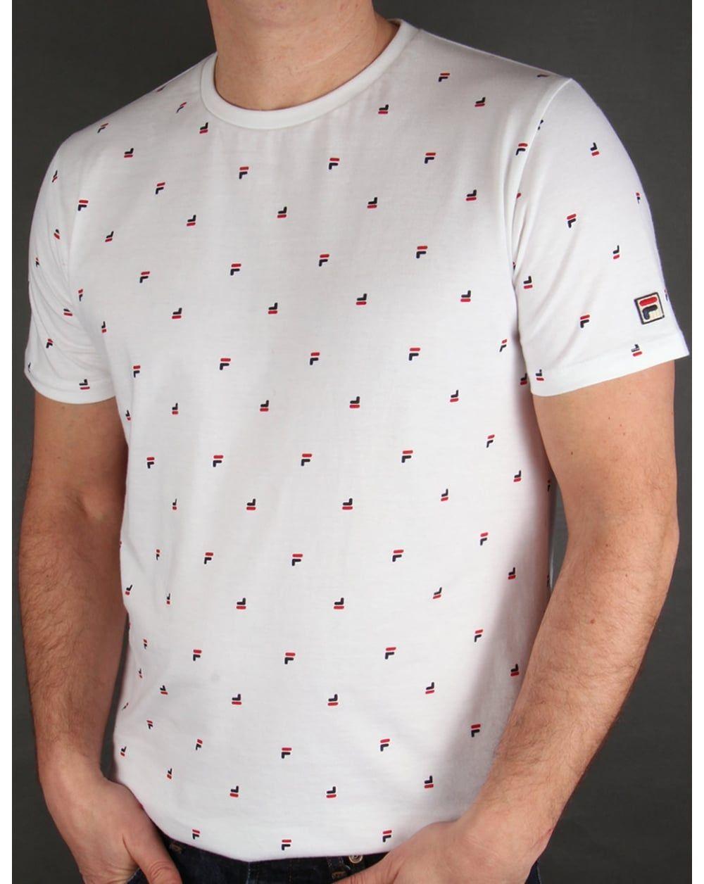 c42ec905 Fila Vintage Multi Logo T-shirt White | Him♂ | Fila vintage ...