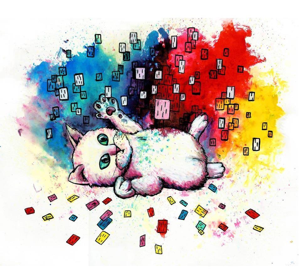 Gato com cubos