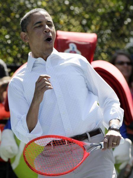 President Obama playing tennis