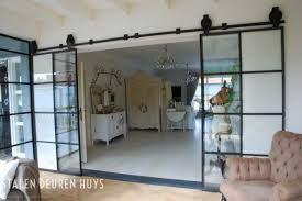 Stalen schuifdeur afscheiding woonkamer en kantoor living room pinterest ijzeren deuren - Afscheiding glas keuken woonkamer ...