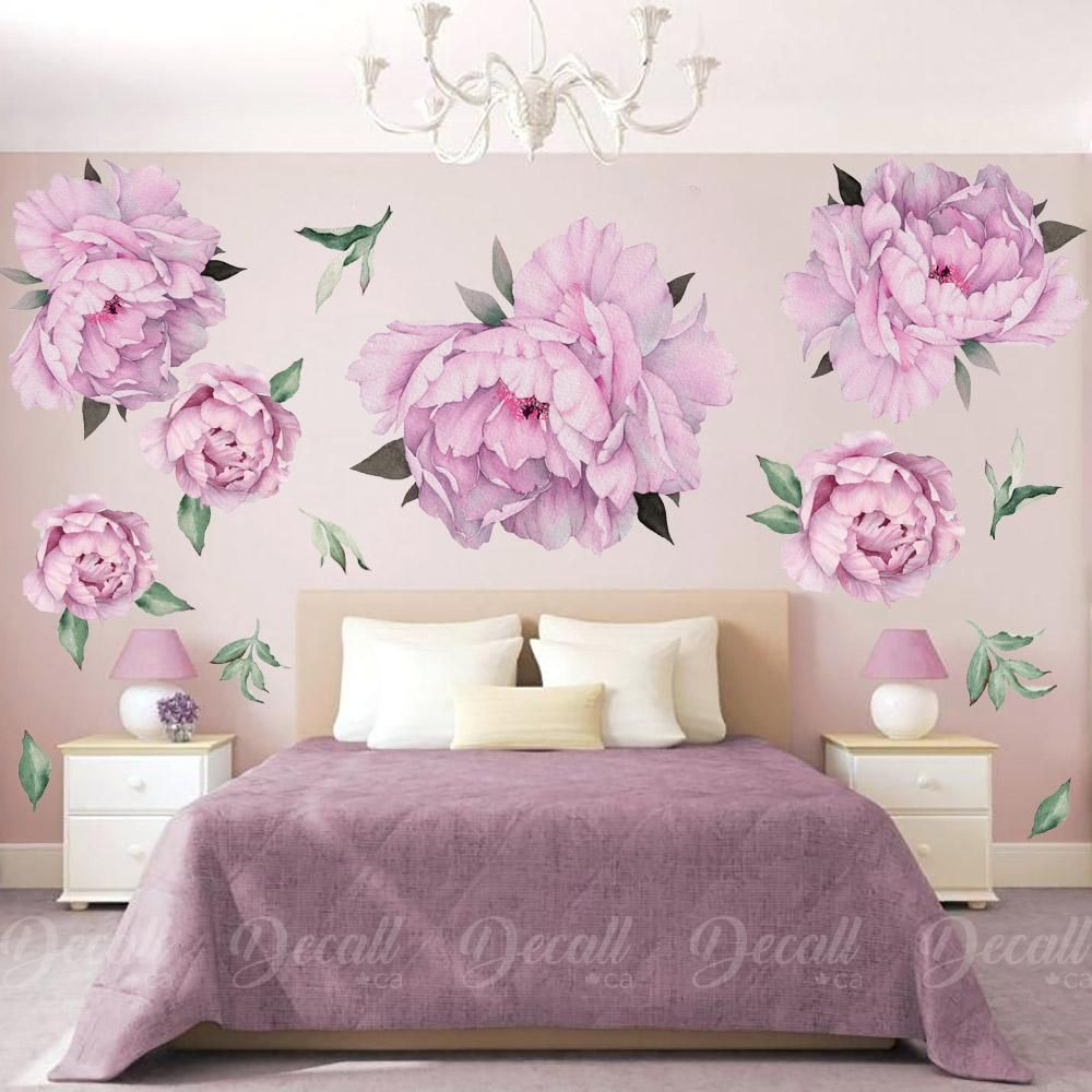 Purple Peony Flowers Wall Sticker Vintage Watercolor Peel And Stick Reusable Wall Stickers Dws1042 Wall Stickers Vintage Flower Wall Decals Reusable Wall Stickers