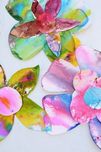 Spring Watercolor Flowers Toddler Art Activity