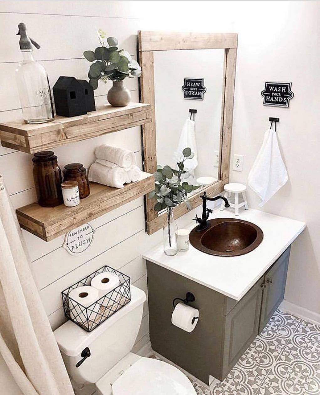 "Interior design + decor ideas on Instagram: ""hello, sunday 👋🏻 another fabulous #modernfarmhouse bathroom 🚽 by the sweet sweet Sierra @withlovesierra 🌟 __ #modernfarmhousedecor…"""