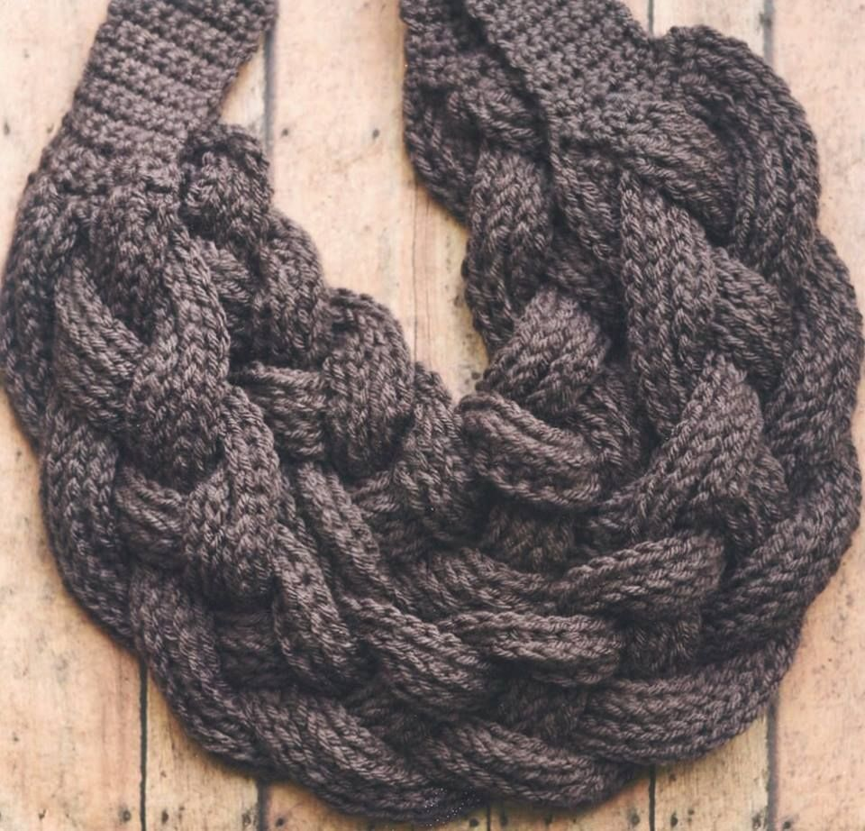My version of the double layer braided cowl by Crochet Dreamz. Found here htt...
