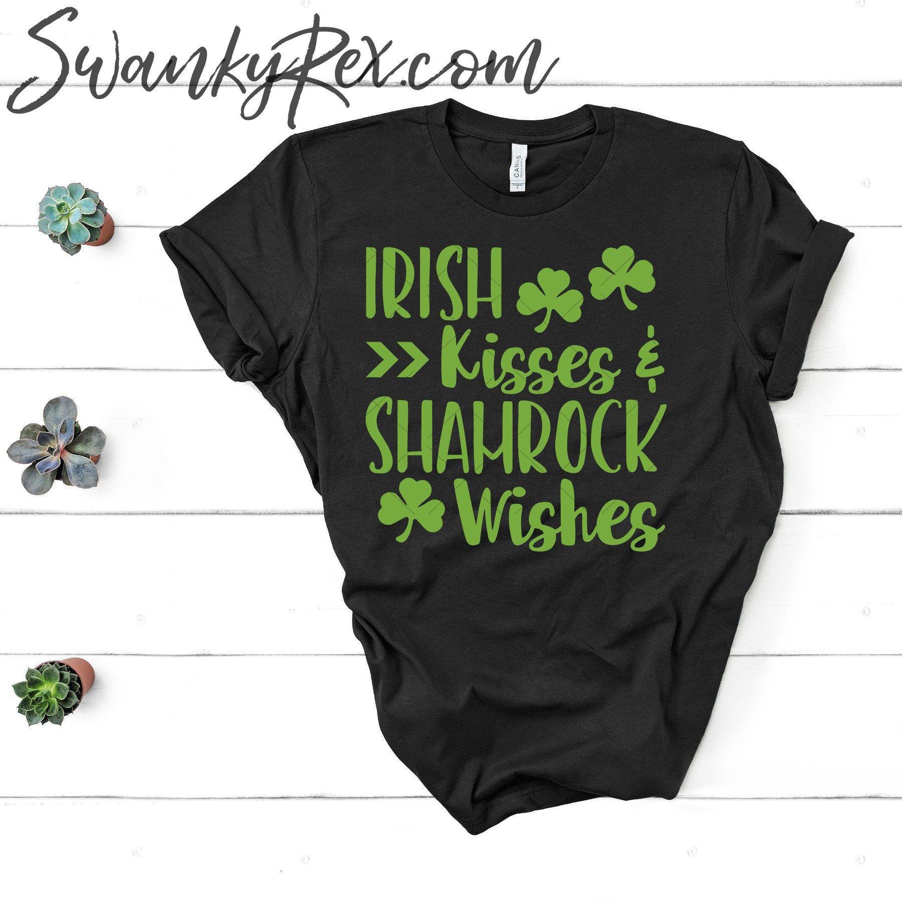 d1b03015 Irish Kiss & Shamrock Wishes| St. Patrick's Day T-Shirt| St. Patty's Shirt|  Clover| Cute| Green| Gray| Grey| List| Women's| Ladies| Soft| T