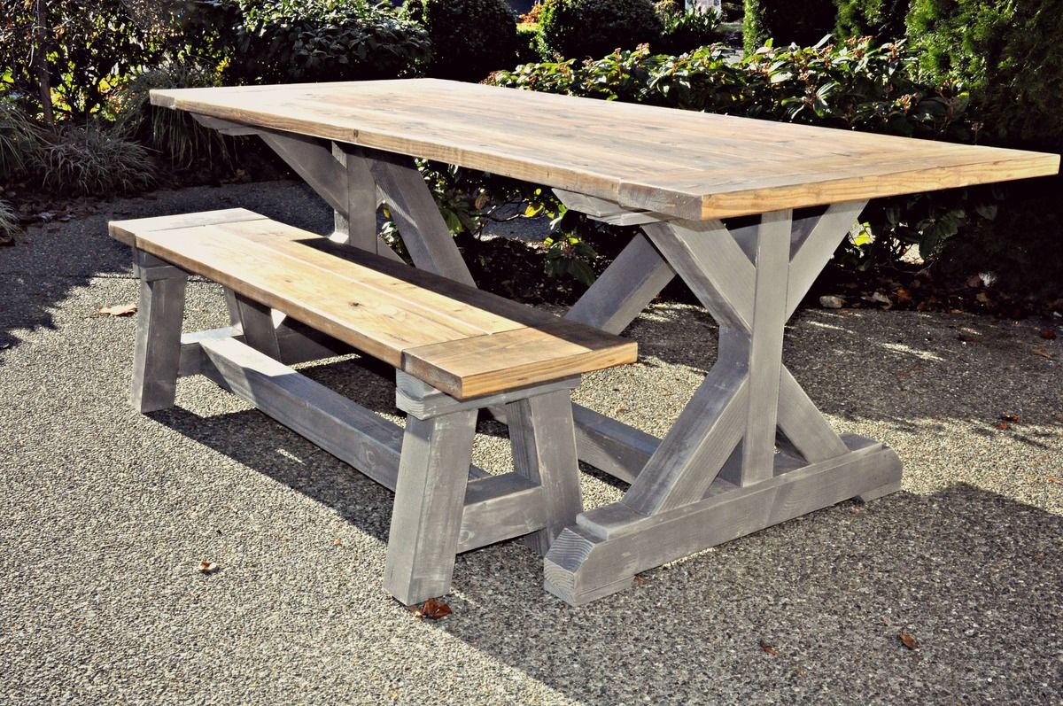 Gray xbase table and truss beam bench ana white wood