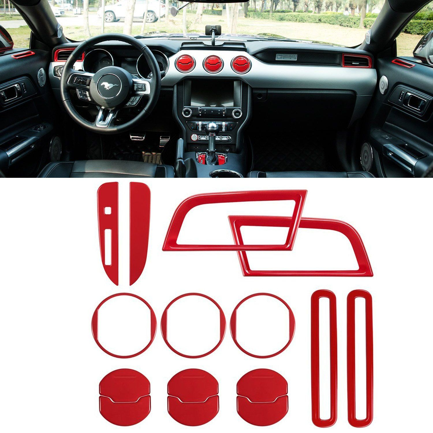 Voodonala Red Steering Wheel Decorative Trim Car Steering Wheel Cover for 2015 2016 2017 Ford F150 F250 F350 Super Duty