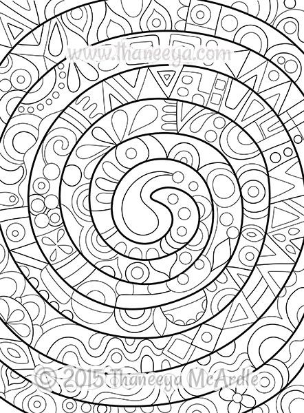 Groovy Abstract Spiral Coloring Page By Thaneeya Mcardle Abstract Coloring Pages Coloring Books Designs Coloring Books