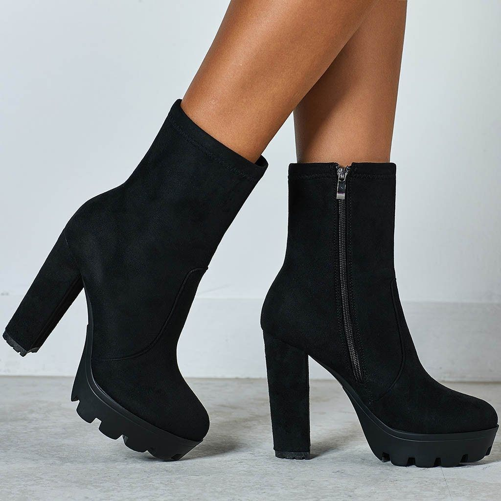 Black Chunky Heels Ankle Boots For