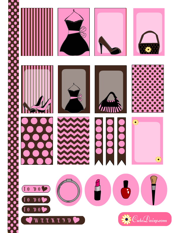 fashion themed stickers for erin condren and happy planner in pink