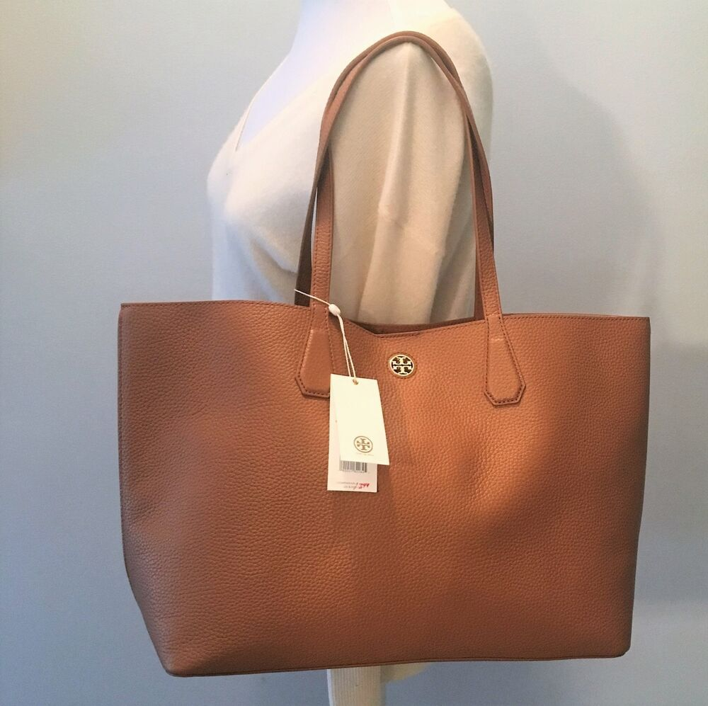 022901ca2e5e TORY BURCH Large Brody Tote Bag ~ BARK Brown Leather Gold Inside ~ New NWT   395  ToryBurch  TotesShoppers
