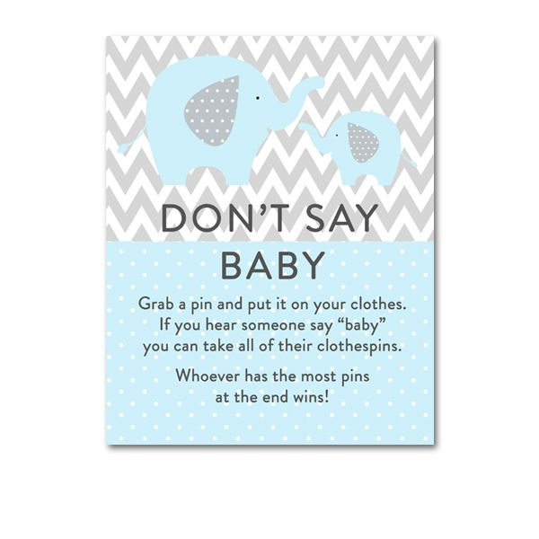 image relating to Free Don't Say Baby Printable called Totally free Printable Youngster Shower Mild Blue Grey Chevron Elephant
